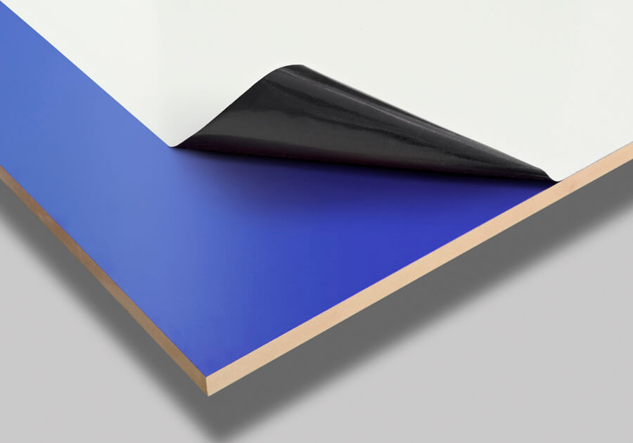 Blue coated MDF with peel off protective film