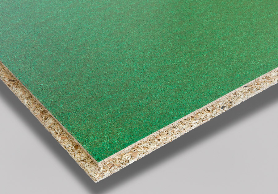 Green finish slip resistant coatings for particleboard