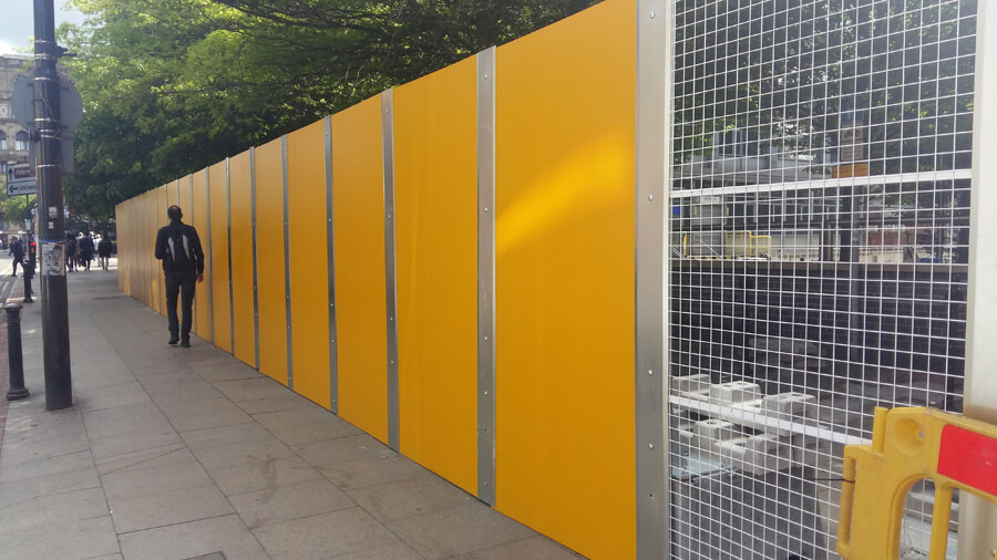 Pre-finished hoardings for construction sites