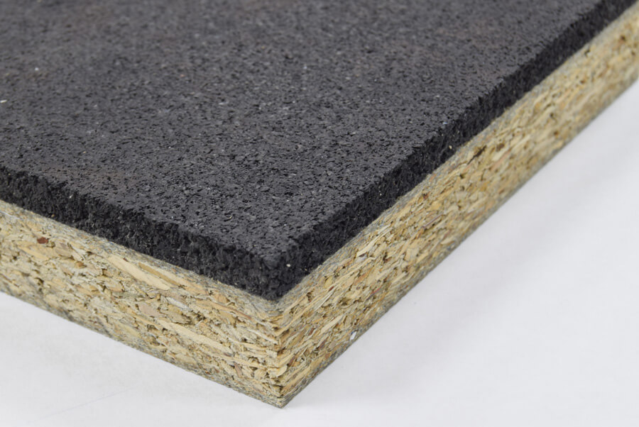 Particleboard pre-bonded thermal insulated panels with rubber matting